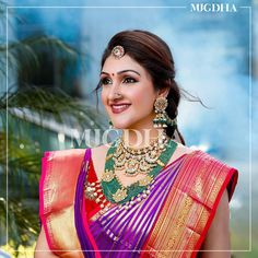 Sridevi Vijaykumar- The Queen of Kanjeevarams Shows Us How It's Done! Indian Wedding Outfits, Bridal Wedding Dresses, Saree Wedding, Mango Mala Jewellery, Bridal Jewellery, Onam Saree, Designer Sarees Wedding, Bridal Silk Saree