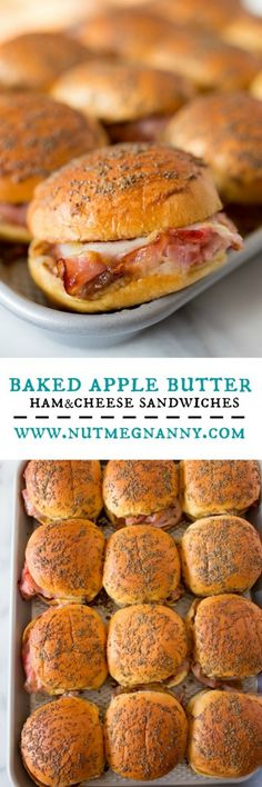 These baked apple butter ham and cheese sandwiches are the perfect party food. T… These baked apple butter ham and cheese sandwiches are the perfect party food. They are the perfect balance of sweet and savory and ready in just 35 minutes! Tapas, Ham And Cheese, Butter Cheese, Swiss Cheese, Apples And Cheese, Cheese Food, Soup And Sandwich, Salad Sandwich, Chicken Sandwich