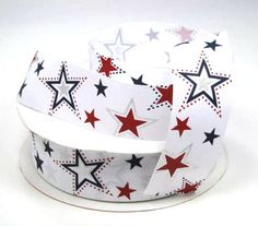 1 1/2 Red Blue and Silver Stars Print Grosgrain