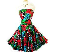 Vintage 1980s Cotton dress Strapless AJ BARI by KMalinkaVintage,