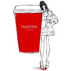 """Megan Hess on Instagram: """"Make it a double shot of Red! I'm thinking we could all do with a nice hot cup of VALENTINO CAPPUCCINO ! @maisonvalentino"""""""