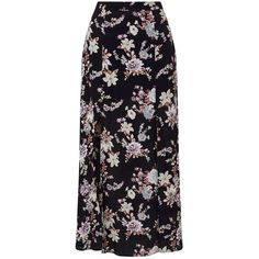 Miss Selfridge Petites Floral Wrap Maxi Skirt ($28) ❤ liked on Polyvore featuring skirts, black, petite, flower print skirt, floral skirt, floor length skirts, long rayon skirt and wrap maxi skirt