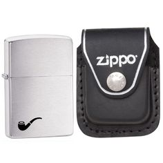 Zippo 200PL Pipe Insert Brushed Chrome Windproof Lighter with Zippo Black Leather Clip Pouch. This. Zippo. lighter. and. pouch.