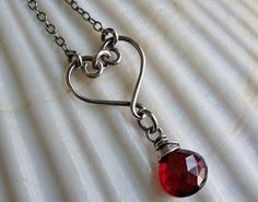 heart simple wire wrap pendant with red bead