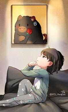 Bts Chibi, Anime Chibi, Taehyung Fanart, Vkook Fanart, Wallpaper Wa, Iphone Wallpaper, Kpop Drawings, Hoseok Bts, Foto Bts