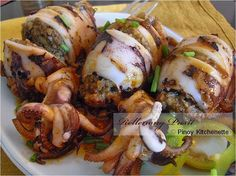 Filipino Style Stuffed Squid (Rellenong Pusit) Recipe & How to Cook | Food Recipe Notebook