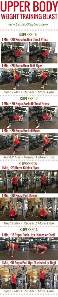 UPPER BODY WEIGHT TRAINING BLAST (gym workout version) - Day 5 of the #LGFitmas Challenge www.LaurenGleisberg.com