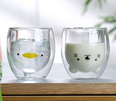 2019 New Glass Mug Double Wall Cartoon Little Duck & Cat Lovely Clear Creative Coffee Milk Cup Teacup Drinking Cups for Office Deco Table, A Table, Objet Wtf, Cute Water Bottles, Glass Coffee Cups, Coffee Milk, Milk Cup, Kawaii Room, Cute Cups