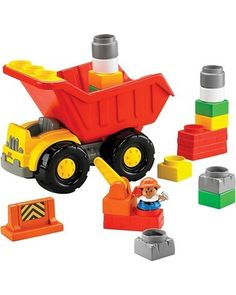 Grab your hard hat! This Little People Build 'n Dump Truck comes with blocks and figurines so your child can imagine working on a construction zone. Click above to buy it. Cool Toys For Boys, Kids Toys, Preschool Block Area, Top Toys, Dump Truck, Little People, Activities For Kids, Trucks, Building