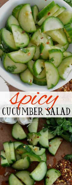 Cucumber Salad: Easy BBQ Side Dish Perfect side dish for grilled BBQ dishes. Light and healthy, but full of flavor!Perfect side dish for grilled BBQ dishes. Light and healthy, but full of flavor! Side Dishes For Bbq, Healthy Side Dishes, Side Dish Recipes, Healthy Snacks, Healthy Eating, Sides For Bbq, Avocado Smoothie, Spicy Recipes, Cooking Recipes