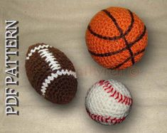 Toy Football, Basketball, and Baseball - Instant Downloadable Crochet e-Pattern
