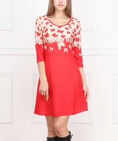Red Butterfly Three-Quarter Sleeve Dress by Reborn Collection #zulily #zulilyfinds