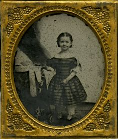 1 6 Plate Ambrotype Little Girl Grapes on Brass Mat Taffeta Dress Pantaloons | eBay