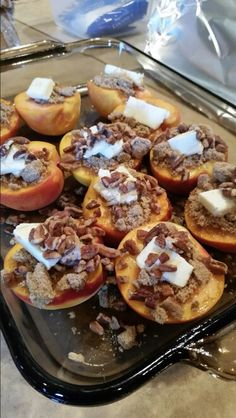 Apples instead? Peaches with butter, cinnamon, brown sugar and pecans and grilled in a pan on the grill. :) served with ice cream. By Anna Schambers Summer 2014 Fruit Recipes, Fall Recipes, Sweet Recipes, Dessert Recipes, Grilled Fruit, Grilled Peaches, Köstliche Desserts, Delicious Desserts, Yummy Food