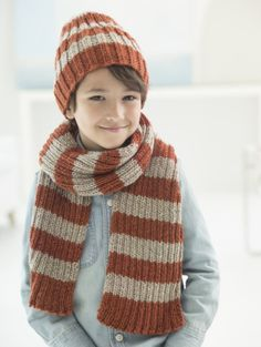 Docklands Hat And Scarf (Knit) - Lion Brand Yarn Free Childrens Knitting Patterns, Knitting For Kids, Free Knitting, Knitting Hats, Knit Hats, Knitting Ideas, Knitted Hats Kids, Knitted Scarves, Crocheted Hats