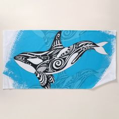Orca Killer Whale Tribal Tattoo Spirit Blue Beach Towel custom gift ideas diy