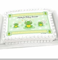 Froggy Frog - Personalized Baby Shower Cake Image Topper