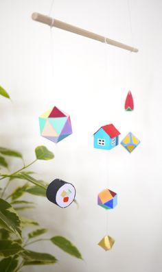 Colourful 3D Paper Mobile. £34.00, via Etsy.