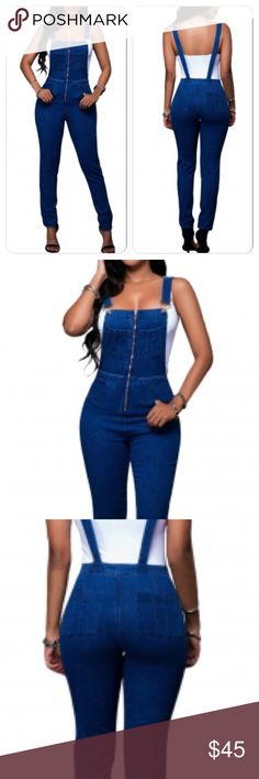 Sexy Blue Jean Zip Up Overall Jumpsuit Sexy stretchy formfitting jean jumpsuit Pants Jumpsuits & Rompers