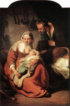 """Rembrandt - The Holy Family - Sacra Famiglia è un dipinto a olio su tela (183,5x123,5cm) realizzato nel 1635 circa da Rembrandt Harmenszoon Van Rijn. È conservato nella Alte Pinakothek di Monaco. L'opera è firmata e datata """"REMBRANDT F. 163(.)""""."""