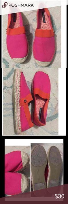 Super cute Espadrilles Pink and orange espadrilles. Worn once. Great condition. No box. Super comfy. They run like a size 7 Tommy Hilfiger Shoes Espadrilles