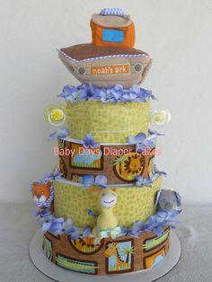 baby boy giraffe diaper cakes | Noahs Ark Diaper Cake - baby boy or neutral baby gift, giraffe, lion ...