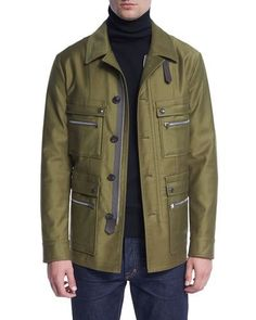 N451Y TOM FORD Satin-Cotton Field Jacket, Bright Olive
