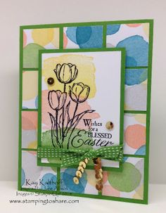 Blessed Easter with Tiled Paper Background and How To Video, Kay Kalthoff, Stamping to Share, Stampin' Up!, Happy Watercolor, Easter Card, Watercolor Wonder Designer Series Paper