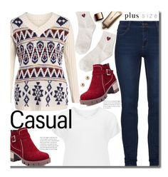 Casual (plus size) by beebeely-look on Polyvore featuring Samoon, Nude by Nature, casual, casualoutfit, plussize, wintersweater and twinkledeals