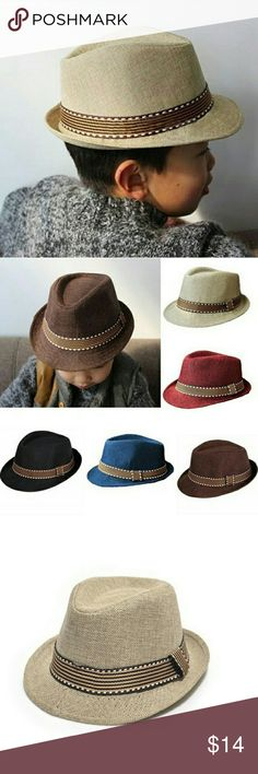 NEW  Toddler Boy Fedora Hat ADORABLE How stinkin cute is this!?   Cotton polyester blend Limited supply  Hat circumference: 20.5in  NEW! Only tags are inside the hat  Brown, Beige & Black ONLY Accessories Hats