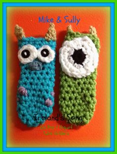 Mike and Sully Crochet Ice Pop Yogurt Tube Holders by IrelandsSong