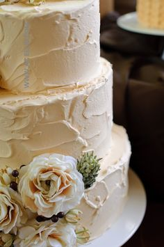 Simple, Textured Vintage Wedding Cake. It reminds me of plastering over Jib-stop when building our elegant colonial-style home in South Carolina.