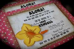 ALOHA....Hawaiian Luau Party Invitation.