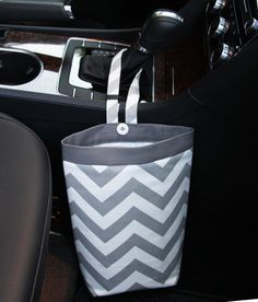 Gearshift Car Trash Bag ~ Gray Chevron with Gray Band and Oilcloth Lining