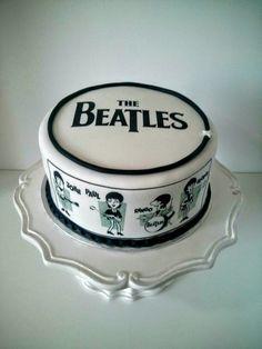 The Beatles Cake Beatles Cake, Beatles Birthday, Beatles Party, The Beatles, Cupcake Cookies, Cupcakes, Black White Cakes, Single Tier Cake, Music Cakes