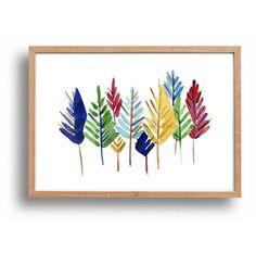 colorful Pine Trees art Print Abstract pines by TheJoyofColor