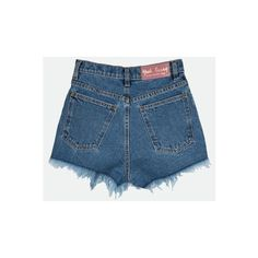 Denim shorts (€95) ❤ liked on Polyvore featuring shorts, high rise shorts, denim shorts, high-waisted shorts, high rise jean shorts and cutoff shorts