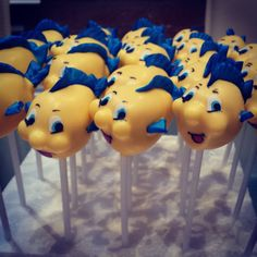 Flounder the fish cake pops for a Little Mermaid Birthday Party Fish Cake Pops, Mermaid Cake Pops, Little Mermaid Cakes, Little Mermaid Birthday, Little Mermaid Parties, Disney Little Mermaids, The Little Mermaid, Disney Desserts, Fun Desserts