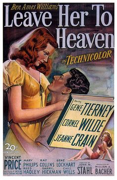 Leave Her To Heaven Poster Movie Gene Tierney Cornel Wilde Jeanne Crain Vincent Price Old Movie Posters, Classic Movie Posters, Cinema Posters, Movie Poster Art, Classic Movies, Vintage Posters, Cinema Film, Gene Tierney, Old Movies