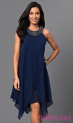 SG-ASWKOATR Short Navy Blue Sleeveless Dress with Handkerchief Skirt at PromGirl.com