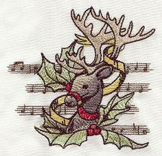 """Yuletide Revelry - Reindeer design (UT5418) from UrbanThreads.com 3.86""""w x 3.78""""h 14 November 2012"""