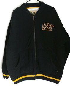d316a66925d CAT Caterpillar Workwear Men's Thick Fleece Jacket Coat Size 2XL Black  Yellow   Clothing, Shoes