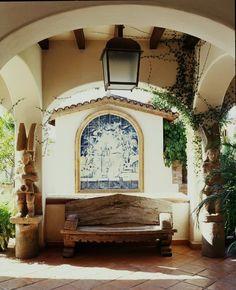 Arches with Beautiful Blue-and-White Tile Mosaic