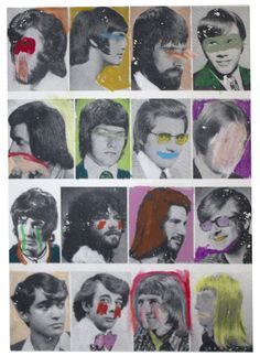 """Heroes & Ghosts Study No. 1 12"""" x 16"""" gel transfer & oil pastel on watercolor paper. 140 lb. / 300gsm. Un-Framed. $100"""