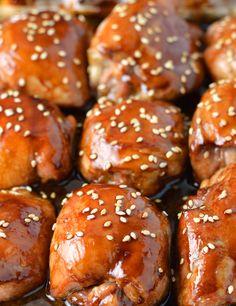 Sticky sesame chicken