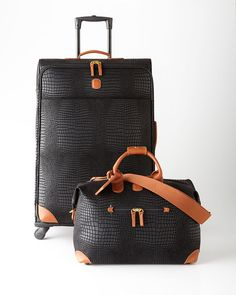 Bric's Black Crocodile-Embossed Cargo Duffel #travelfashion #fitgirltravels #luggage  www.fitgirltravels.com