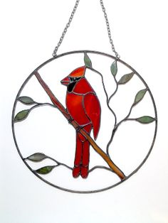 Stained Glass Cardinal Suncatcher  10 round by lizardkey on Etsy, $65.00