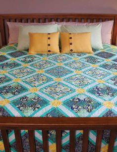 City Safari Quilt Kit: Fabrics from the Eden collection by Tula Pink for FreeSpirit are showcased in the kit for simple-to-piece quilt designed by Kathy Patterson.