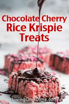 This Chocolate Covered Cherry Rice Krispie Treats recipe has the flavor of chocolate covered cherries. They are as easy to make as the regular rice krispie treats but give an entirely different twist on an old time favorite. Delicious Desserts, Dessert Recipes, Yummy Food, Rice Recipes, Easy Recipes, Popcorn Recipes, Cookie Recipes, Vegetarian Recipes, Deserts