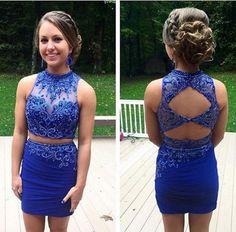 Royal Blue Homecoming Dress,Beaded Pencil Prom Dress,Custom Made Evening Dress,Tight prom dress